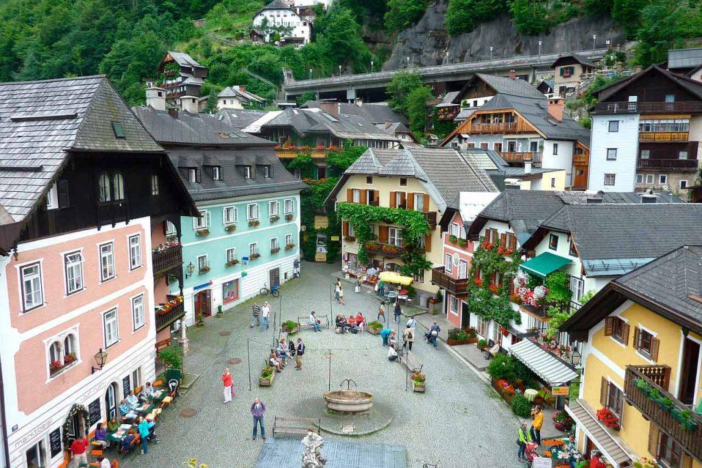 plaza del mercado en Hallstatt